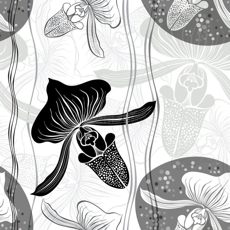 Teste padrão sem emenda floral monocromático com as orquídeas tiradas mão Vect ilustração stock