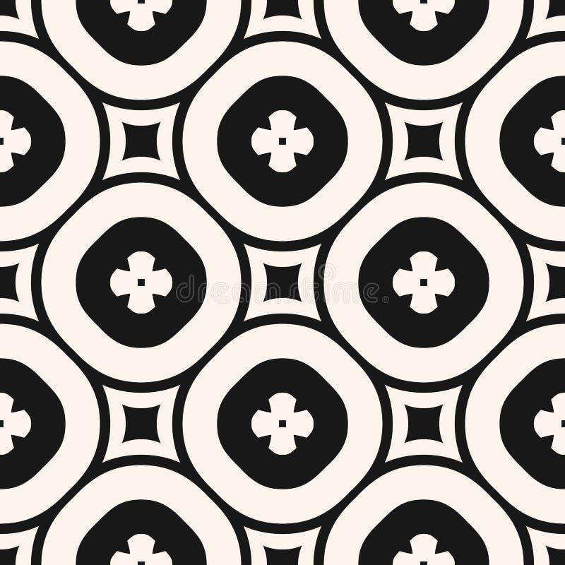 Teste padrão sem emenda floral monocromático do vetor Fundo geométrico luxuoso com formas grandes da flor, círculos, quadrados, t ilustração do vetor