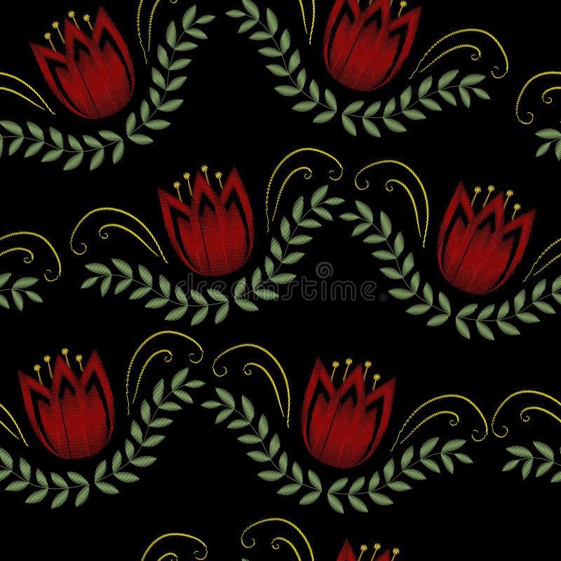 Teste padrão sem emenda floral na moda do bordado As flores ornament o fundo infinito, textura Ilustração do vetor ilustração stock