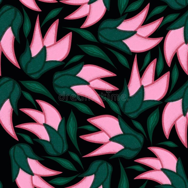 Teste padrão sem emenda floral no fundo preto com folhas ilustração stock