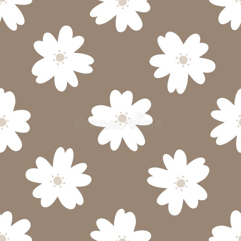 Teste padrão sem emenda floral simples Flores brancas repetidas em um fundo marrom ilustração stock