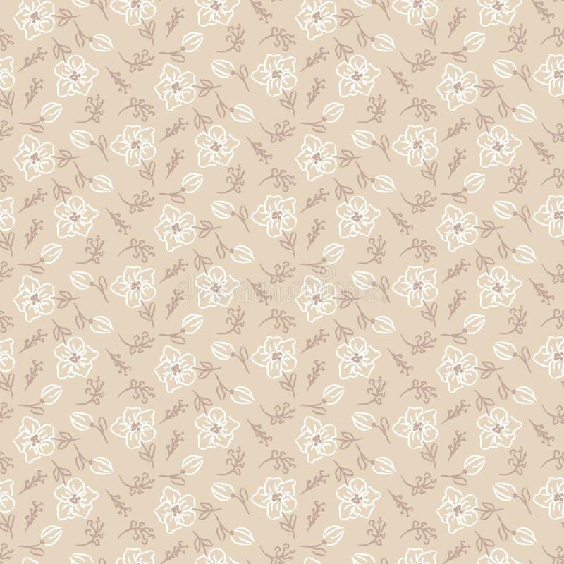 Teste padrão sem emenda floral Textura bege e branca do estilo tirado mão ilustração royalty free