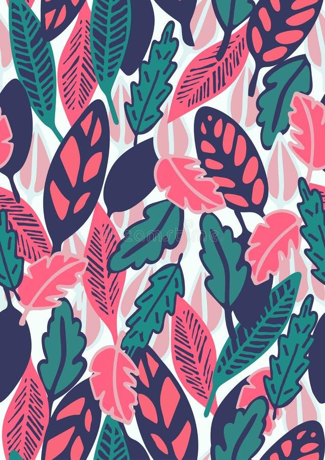 Teste padrão sem emenda floral tirado mão com folhas ilustração stock