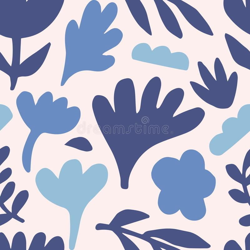 Teste padrão sem emenda floral tirado mão da repetição ilustração do vetor