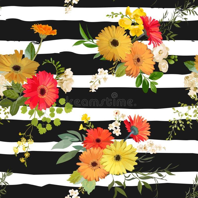Teste padrão sem emenda floral verão e Autumn Flowers Background ilustração royalty free