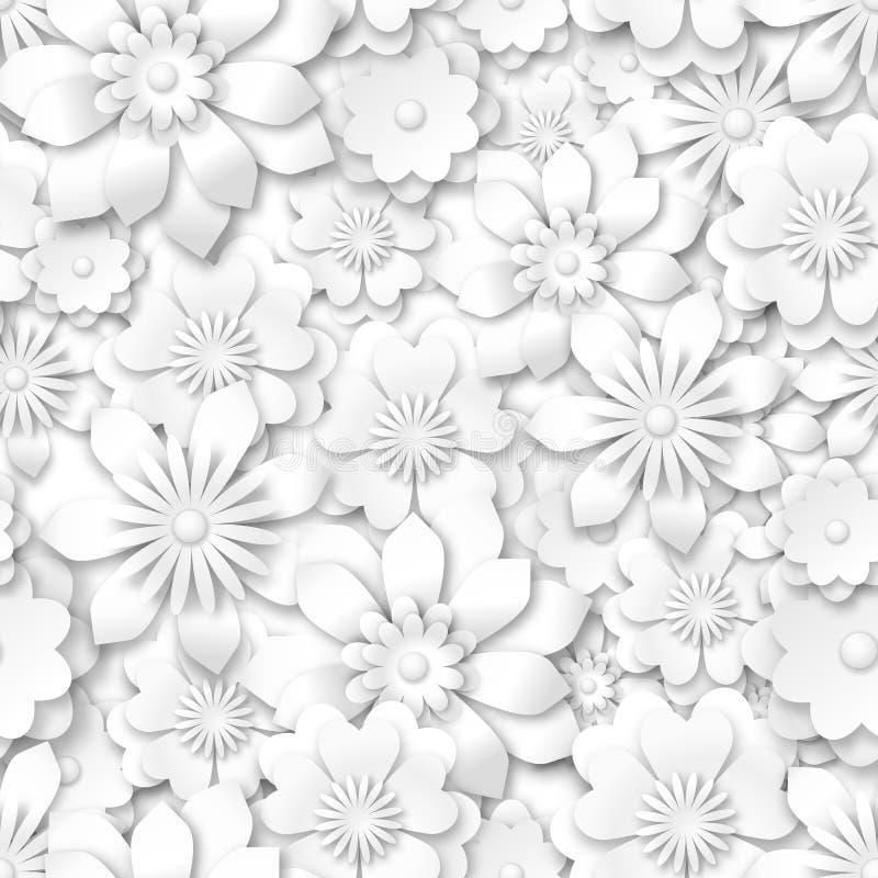 Teste padrão sem emenda - flores brancas com efeito 3d ilustração stock