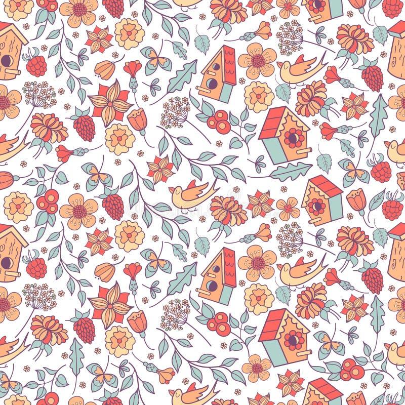 Teste padrão sem emenda Flores da mola, ervas, aviários, pássaros Teste padrão bonito da mola para imprimir na tela, papel ilustração royalty free