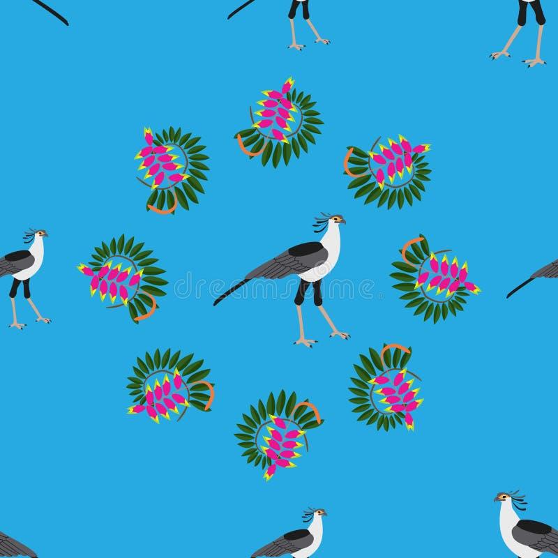 Teste padrão sem emenda Folhas tropicais, pássaros africanos exóticos e fluxo ilustração do vetor