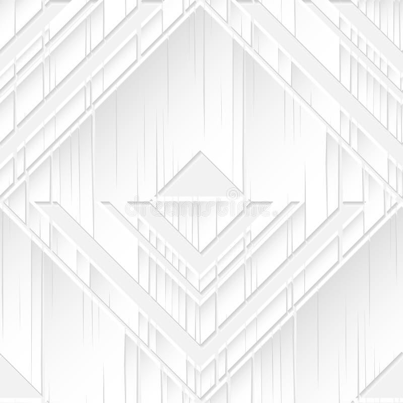 Teste padrão sem emenda Formas 3D geométricas brancas no fundo branco ilustração royalty free