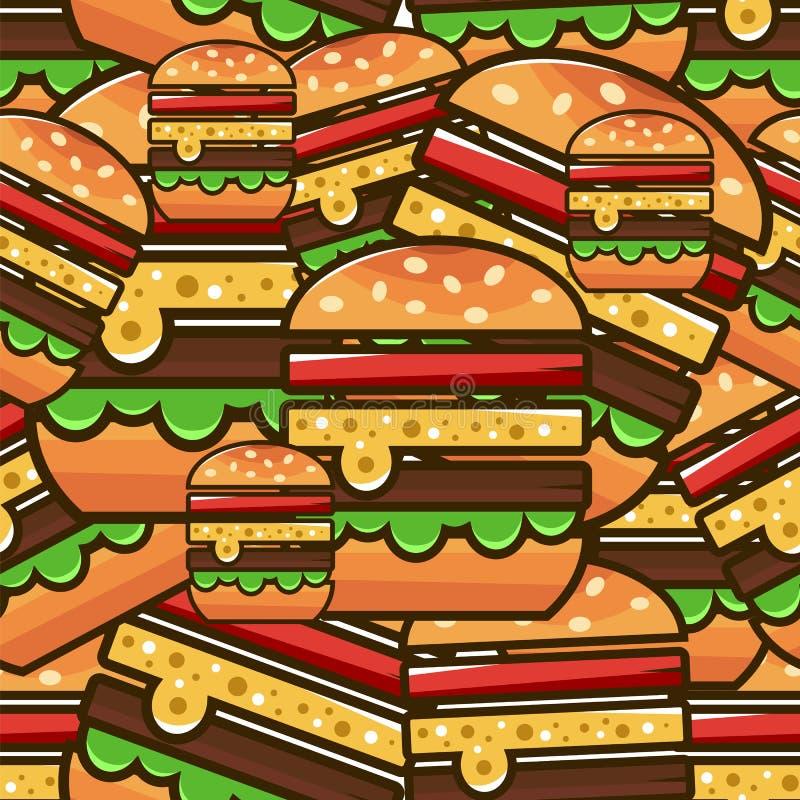 Teste padrão sem emenda fresco com Hamburger dos desenhos animados Illustrati do vetor ilustração royalty free