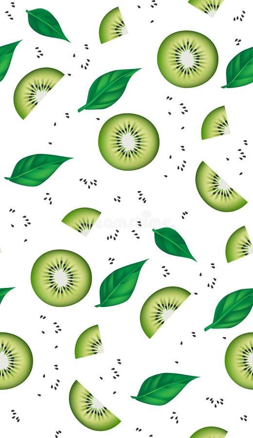 Teste padrão sem emenda fresco das fatias, das folhas e das sementes do quivi Ilustração realística ilustração do vetor