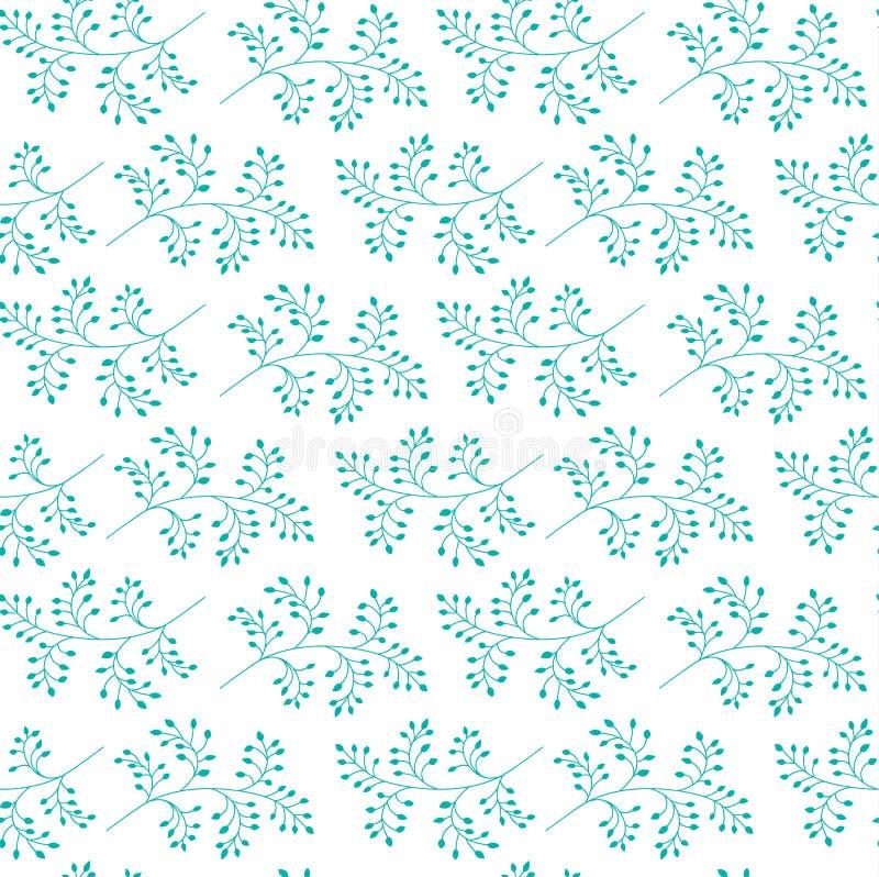 Teste padrão sem emenda Fundo à moda floral Ramos com folhas ilustração royalty free
