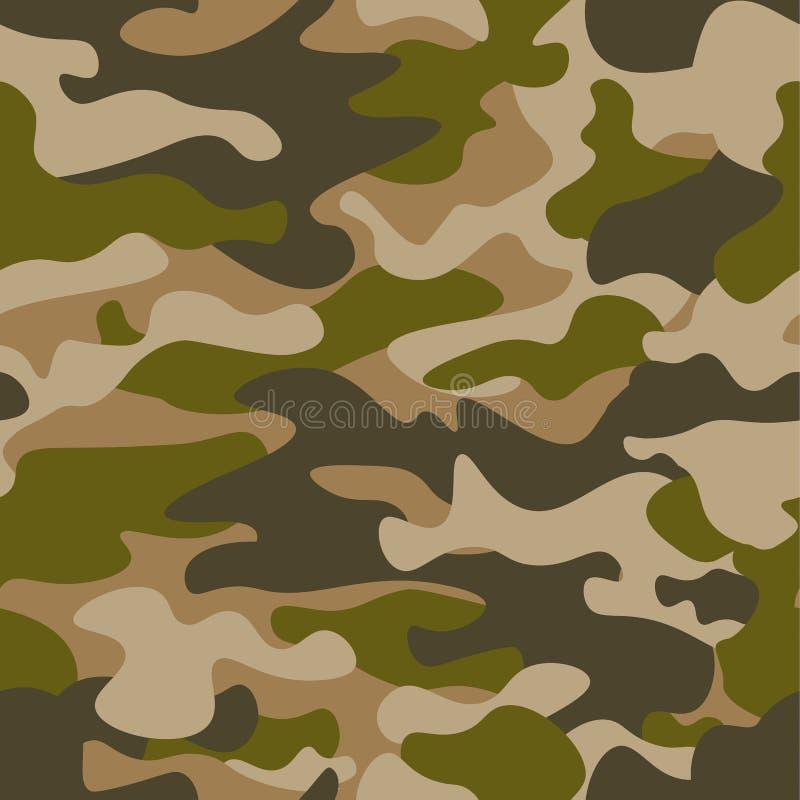 Teste padrão sem emenda Fundo abstrato da camuflagem das forças armadas ou da caça Brown, cor verde Ilustração do vetor repetido ilustração stock