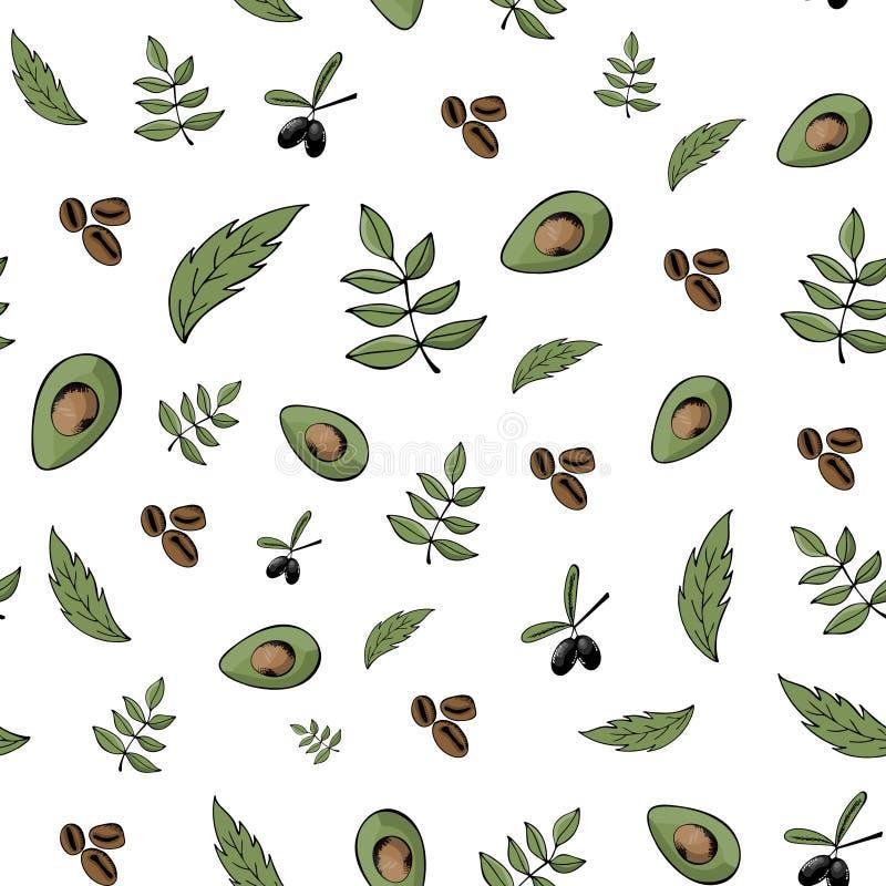 Teste padrão sem emenda, fundo, alimento biológico, produtos naturais, bi ilustração stock
