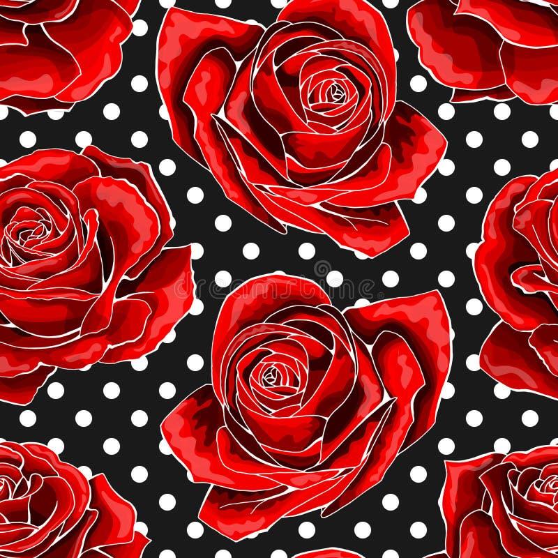 Teste padr?o sem emenda, fundo com as rosas esbo?adas vermelhas, no fundo dos ?s bolinhas ilustração royalty free