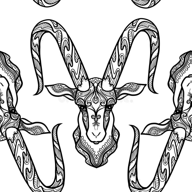 Teste padrão sem emenda, fundo com o animal ornamentado modelado étnico ilustração stock