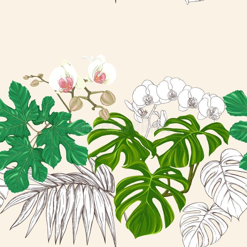 Teste padrão sem emenda, fundo com plantas tropicais ilustração royalty free