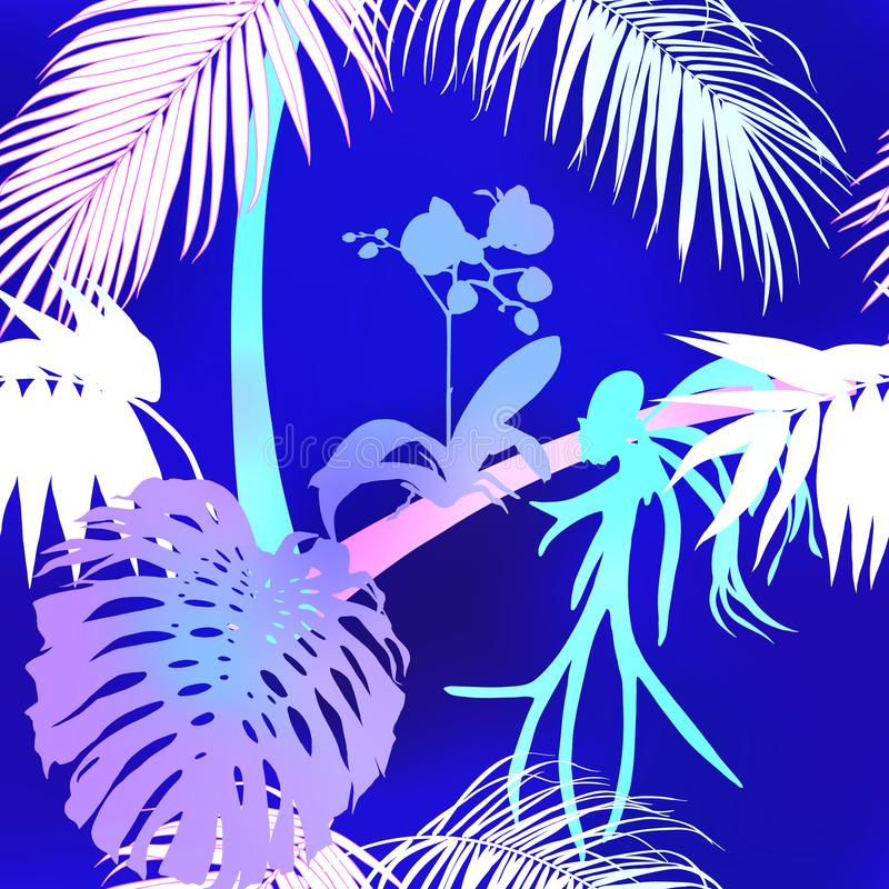 Teste padrão sem emenda, fundo com plantas tropicais imagens de stock royalty free