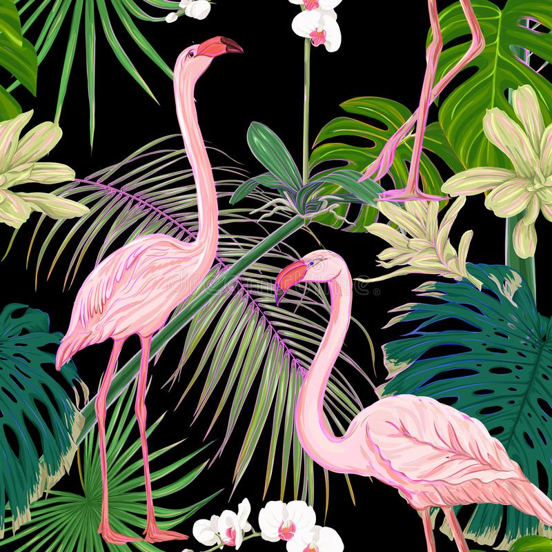 Teste padrão sem emenda, fundo com plantas tropicais e flores com as flores brancas da orquídea e os pássaros tropicais ilustração stock