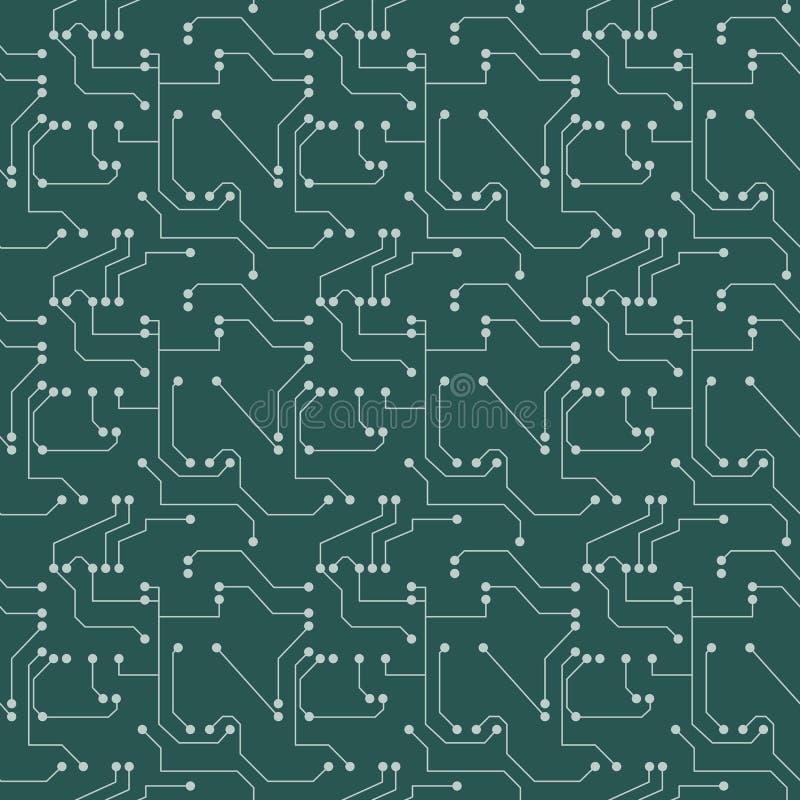 Teste padrão sem emenda Fundo da placa ou do microchip de circuito do computador Ilustração do vetor ilustração royalty free