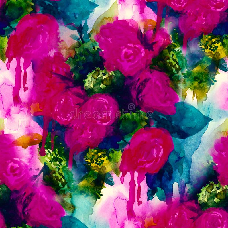 Teste padrão sem emenda Fundo pintado à mão da aquarela Flores abstratas o ramalhete das flores, aumentou, peônia, cartão ilustração stock