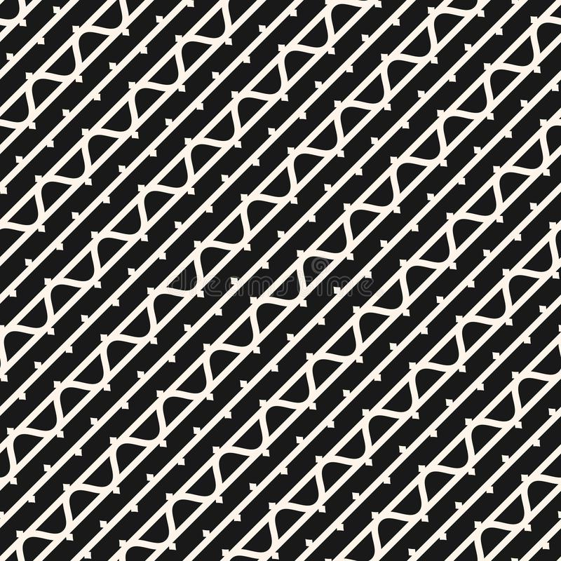 Teste padrão sem emenda funky com linhas diagonais, listras onduladas, linha elementos da tinta ilustração royalty free
