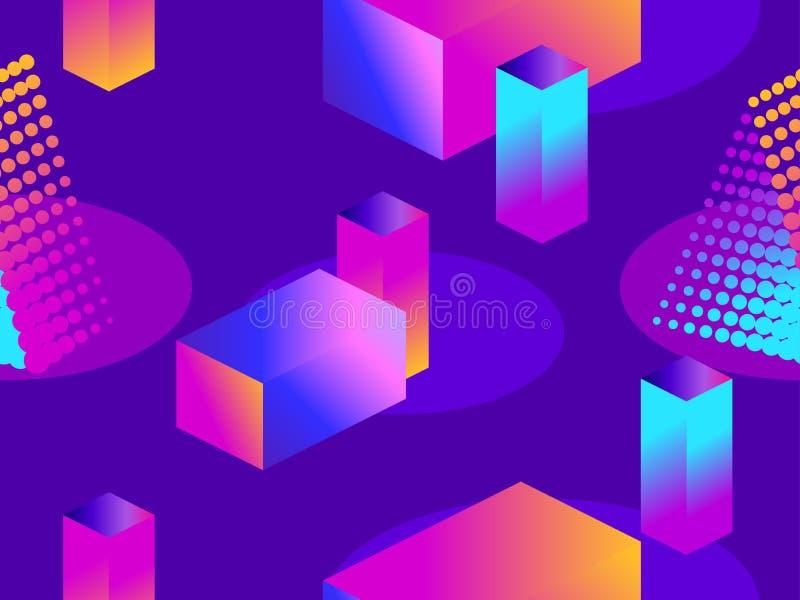 Teste padrão sem emenda futurista com formas geométricas Objetos 3d isométricos Inclinação roxo e azul Retrowave Vetor ilustração stock