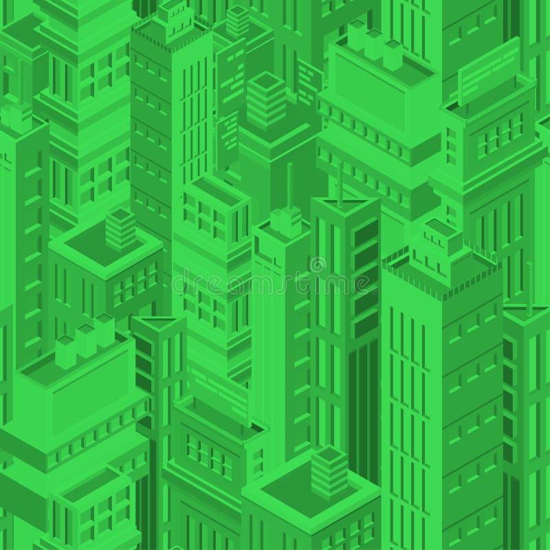 Teste padrão sem emenda futurista verde com construções e os arranha-céus urbanos isométricos da megalópole moderna Fundo com ilustração do vetor