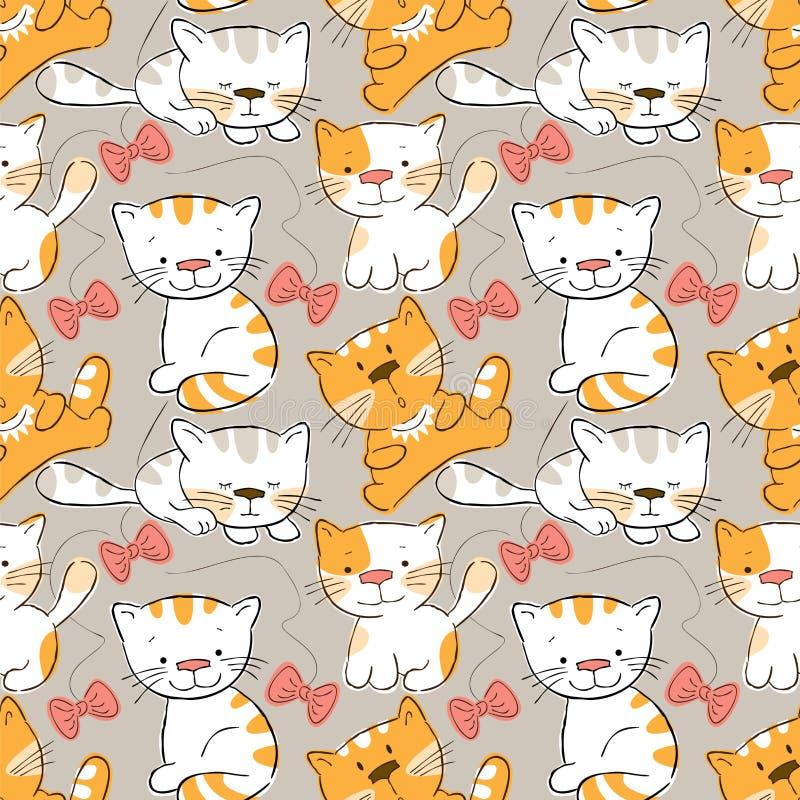 Teste padrão sem emenda - gatinhos ilustração stock