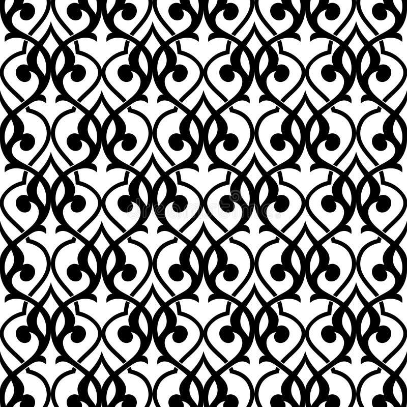 Teste padrão sem emenda geométrico árabe preto e branco, vetor ilustração royalty free