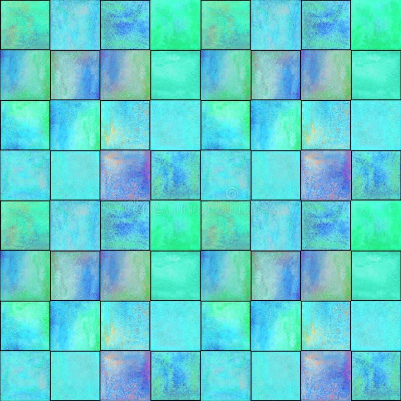 Teste padrão sem emenda geométrico abstrato com quadrados Arte finala colorida do watercolour imagens de stock