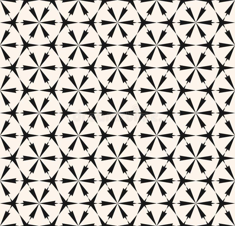 Teste padrão sem emenda geométrico abstrato do vetor Textura floral preto e branco da grade ilustração stock