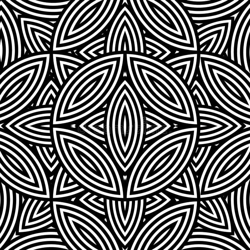 Teste padrão sem emenda geométrico abstrato em preto & em branco ilustração stock