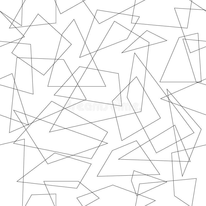 Teste padrão sem emenda geométrico abstrato, repetindo telhas, polígono preto e branco do projeto do monocrome ilustração stock