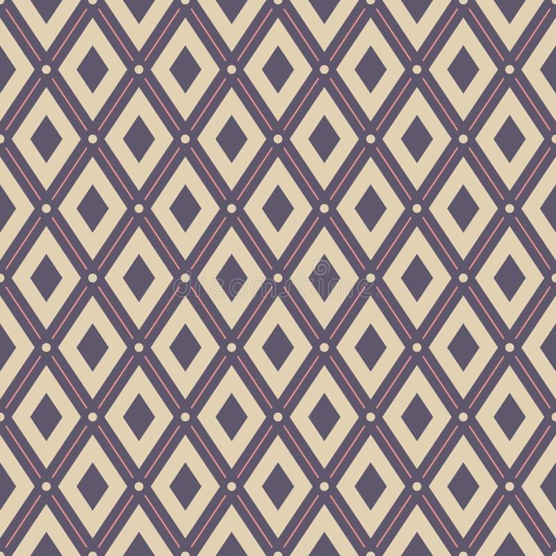 Teste padrão sem emenda geométrico abstrato Rombos regularmente repetidos com pontos ilustração stock