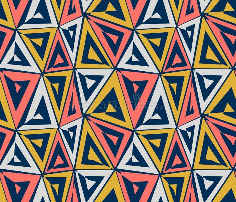 Teste padrão sem emenda geométrico abstrato Triângulos corais, cinzentos, amarelos no fundo azul ilustração stock