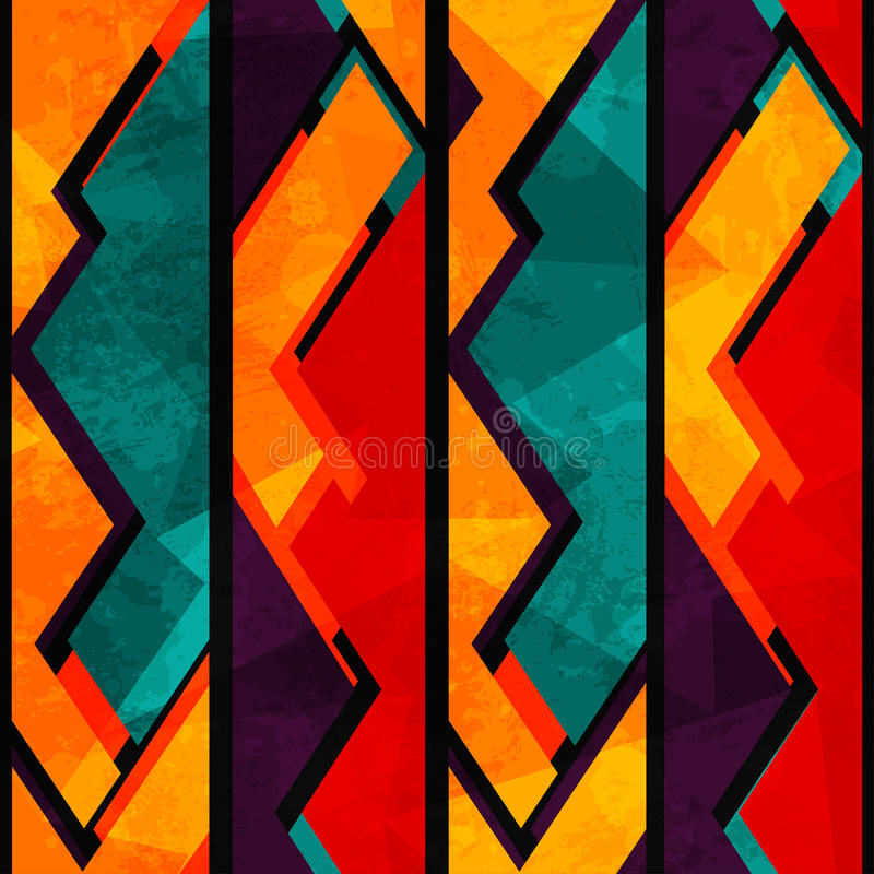 Teste padrão sem emenda geométrico africano com efeito do grunge ilustração stock