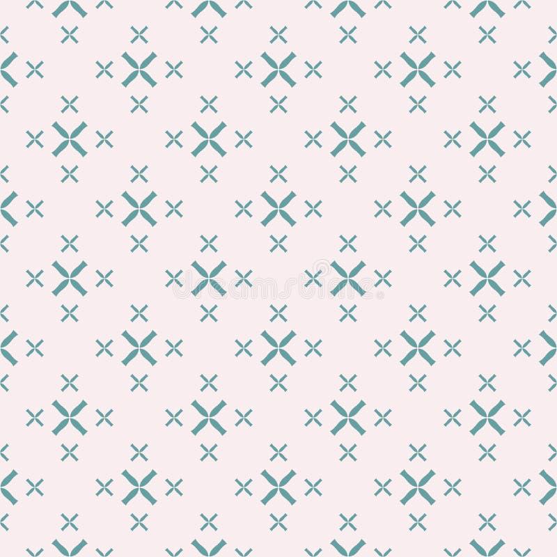 Teste padr?o sem emenda geom?trico com flores pequenas, cruzes Turquesa e cor cor-de-rosa ilustração do vetor