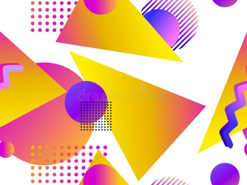 Teste padrão sem emenda geométrico com inclinação líquido em um fundo branco Triângulos, círculos e pontos Vetor ilustração royalty free