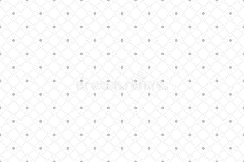 Teste padrão sem emenda geométrico com linhas e os pontos conectados Textura da tela Alinha círculos do plexo Fundo gráfico ilustração stock