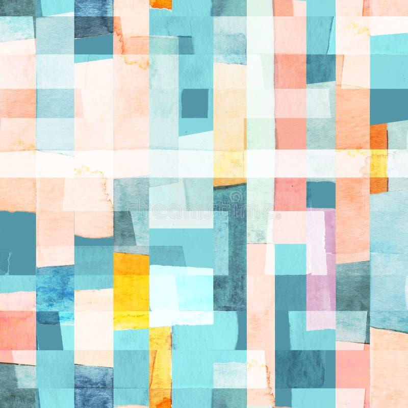 Teste padrão sem emenda geométrico com listras multicoloridos e cercetas ilustração stock