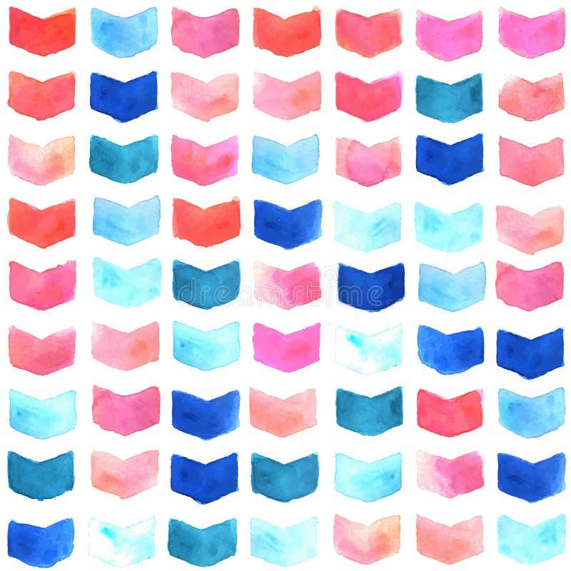 Teste padrão sem emenda geométrico da aquarela ilustração stock