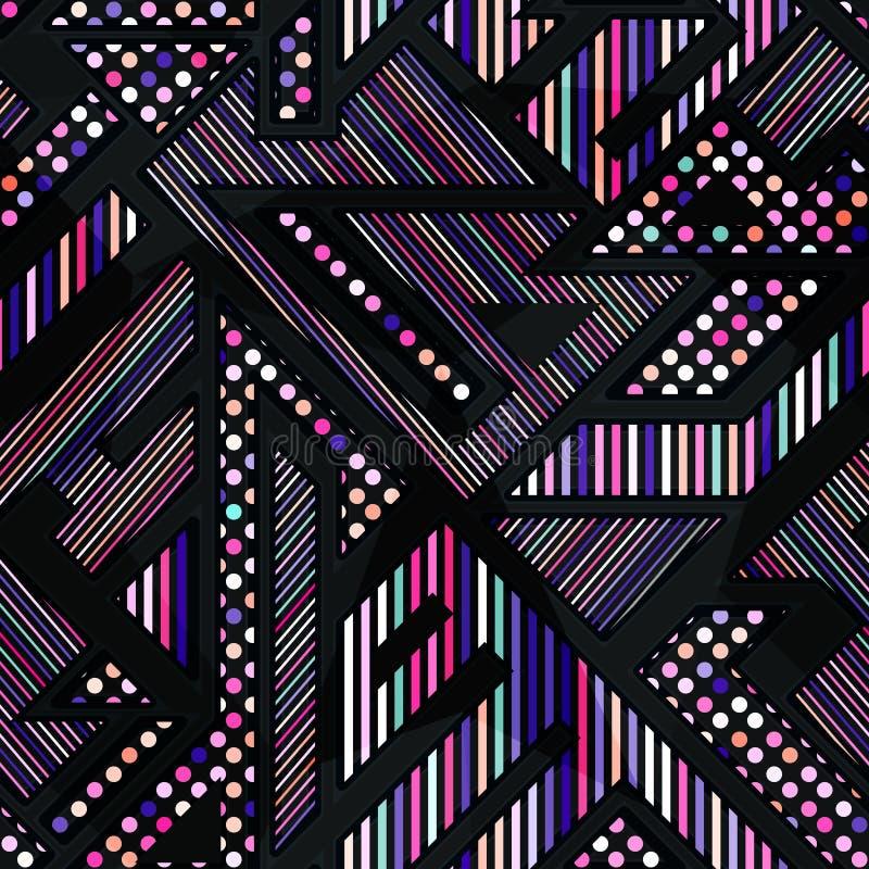 Teste padrão sem emenda geométrico da cor de néon ilustração stock