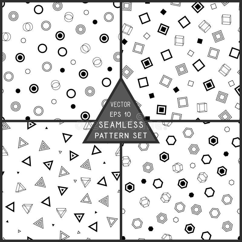 Teste padrão sem emenda geométrico de figuras pretas no contexto branco ilustração stock
