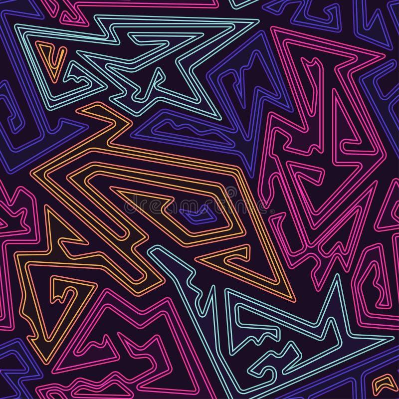 Teste padrão sem emenda geométrico de néon ilustração stock