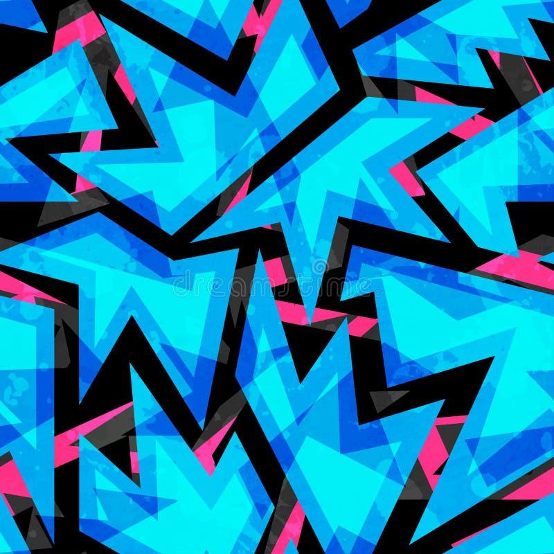 Teste padrão sem emenda geométrico de néon azul ilustração stock
