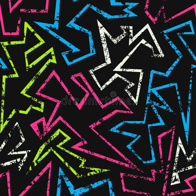 Teste padrão sem emenda geométrico de néon com efeito do grunge ilustração do vetor