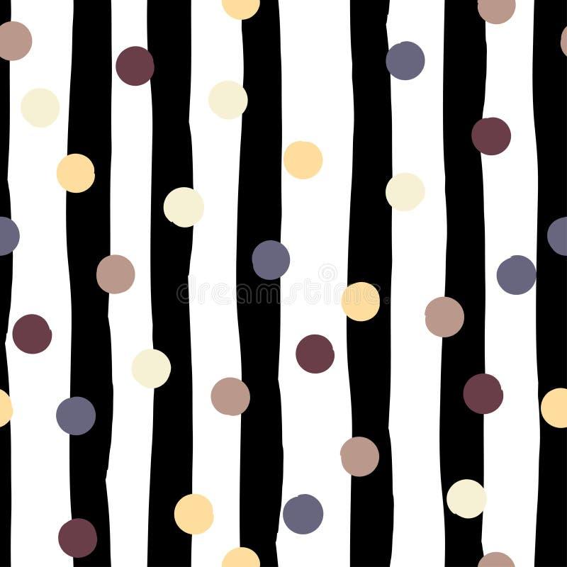 Teste padrão sem emenda geométrico do vetor bonito Às bolinhas e listras Cursos da escova Textura tirada mão do grunge Sumário ilustração stock