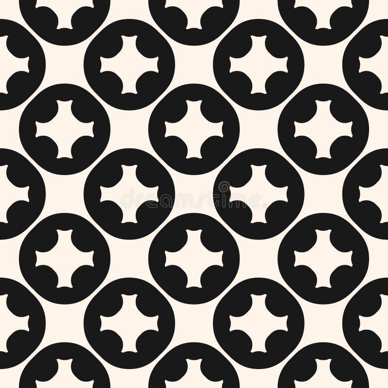Teste padrão sem emenda geométrico do vetor com formas circulares cinzeladas, cruzes ilustração stock