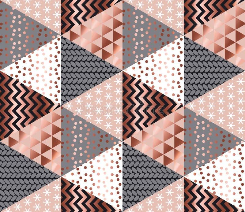 Teste padrão sem emenda geométrico do xmas do ouro cor-de-rosa do luxo ilustração royalty free